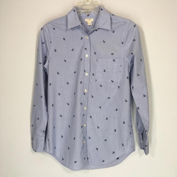 J. Crew Tops - J Crew Blue Cotton Shirt Long Sleeve sz XXS